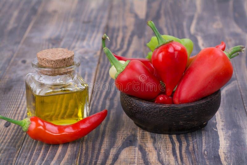 Перец Chili с маслом перца стоковая фотография rf