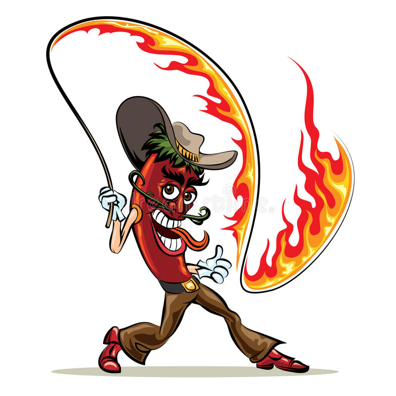 Перец Chili с плеткой огня иллюстрация вектора