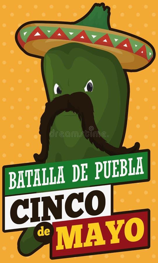 Перец Chili Poblano любит мексиканец Charro для Cinco de Mayo, иллюстрации вектора иллюстрация штока