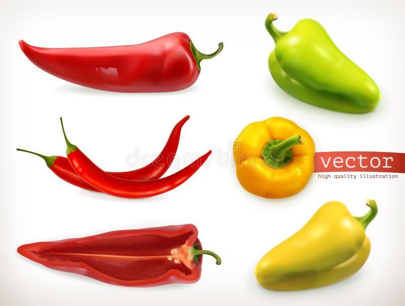 Перец Vegetable комплект значка вектора иллюстрация вектора