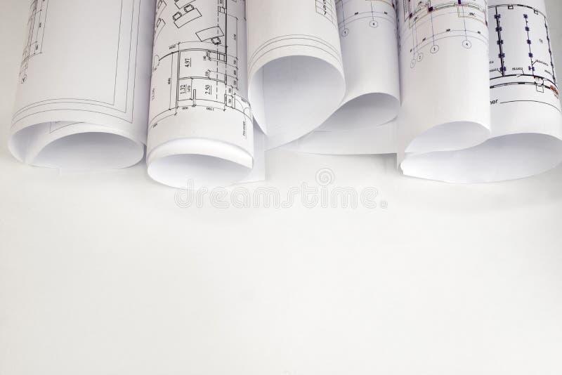 Перечени архитектурноакустических чертежей стоковое фото rf