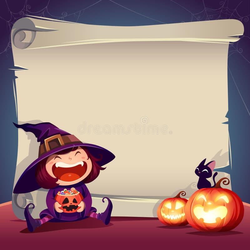 Перечень бумаги хеллоуина Перечень чистого листа бумаги с маленькой ведьмой, черным котом и фонариком jack o иллюстрация вектора