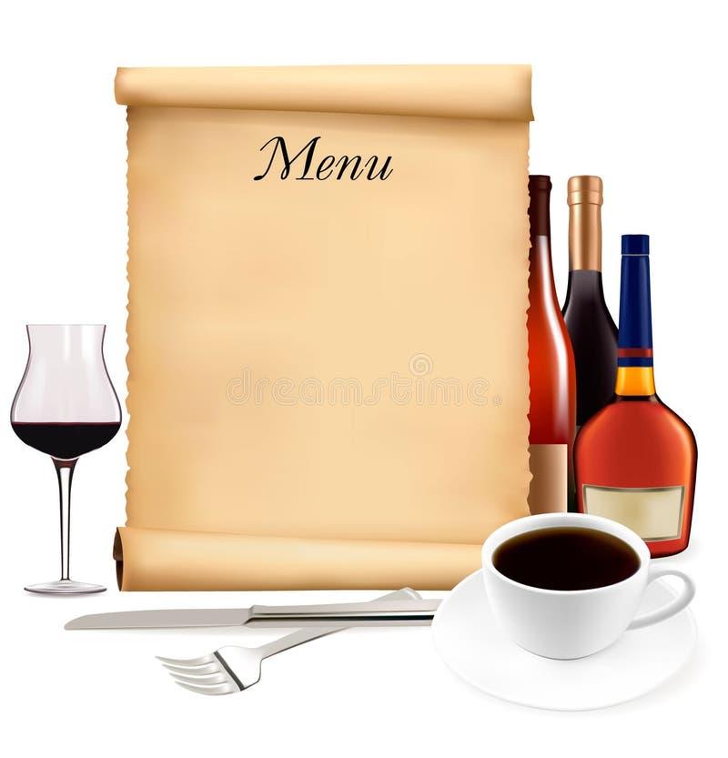 перечень ресторана меню старый иллюстрация вектора