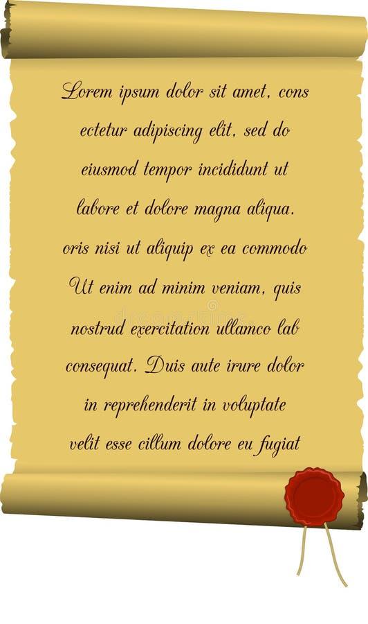 Перечень с уплотнением текста и воска иллюстрация штока