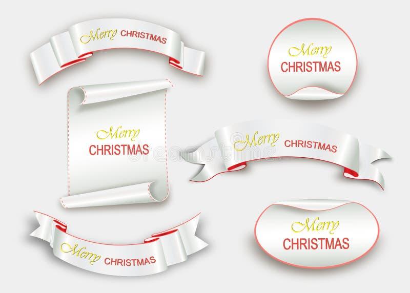 Перечислите красные, с Рождеством Христовым, реалистические, бумажные знамена также вектор иллюстрации притяжки corel иллюстрация штока