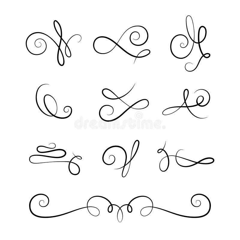 Перечислите элементы, комплект винтажных каллиграфических виньеток бесплатная иллюстрация