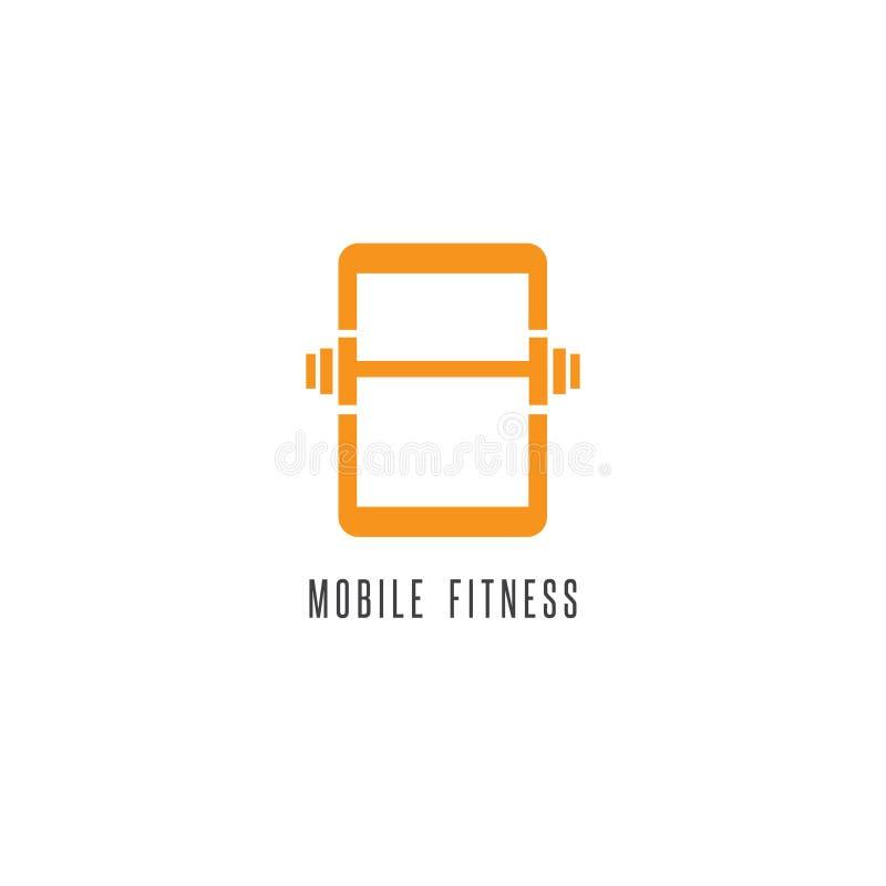 Передвижная иллюстрация конспекта фитнеса с телефоном бесплатная иллюстрация