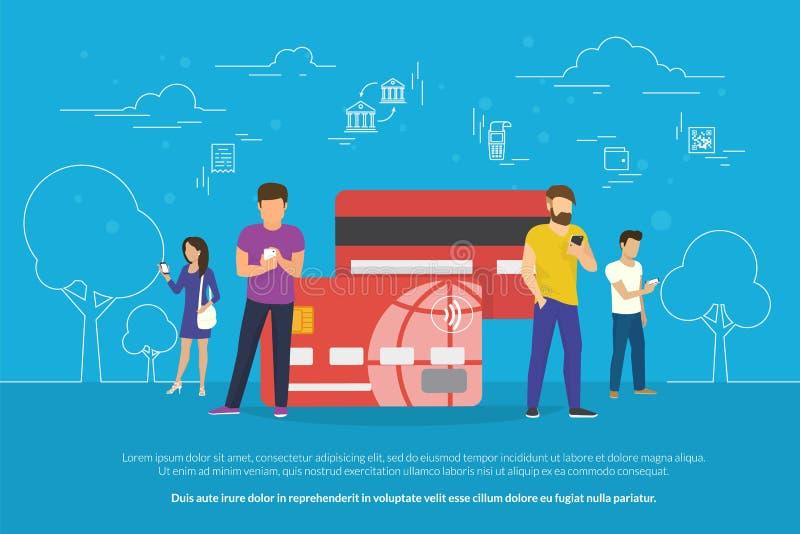 Передвижная иллюстрация концепции банка иллюстрация штока