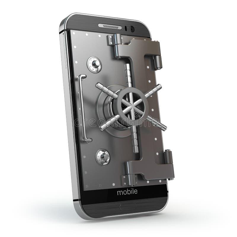 Передвижная принципиальная схема безопасностью Smartphone или мобильный телефон с сводом или s бесплатная иллюстрация