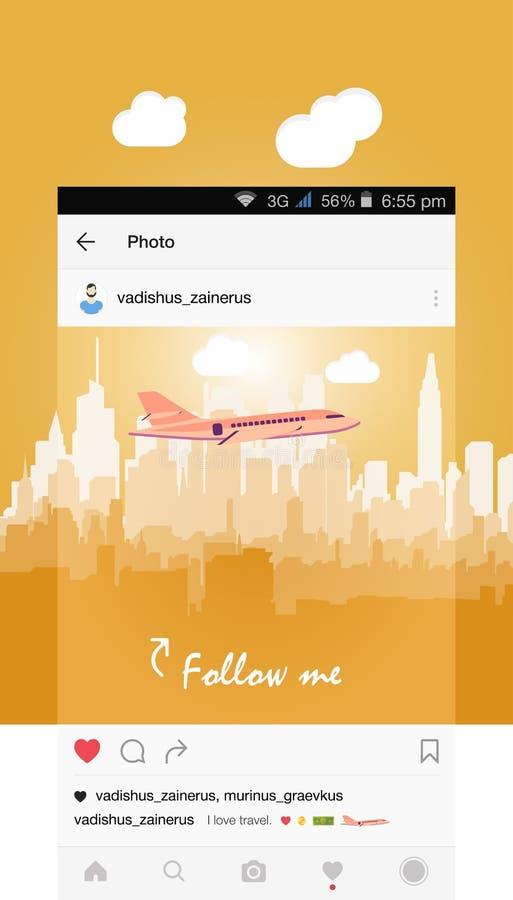 Передвижное применение и самолет летая над городом иллюстрация штока