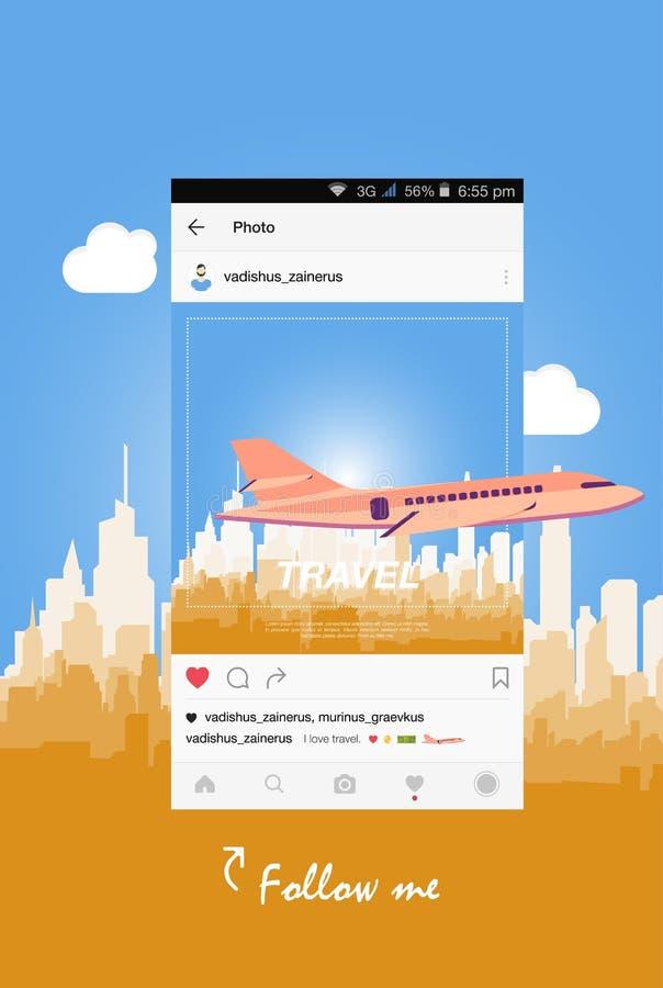 Передвижное применение и самолет летая над городом бесплатная иллюстрация