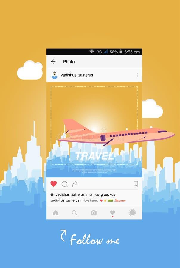 Передвижное применение и самолет летая над городом иллюстрация вектора