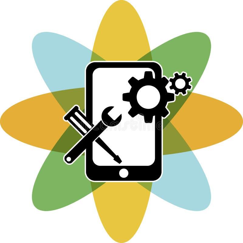 Передвижной логотип ремонта иллюстрация вектора
