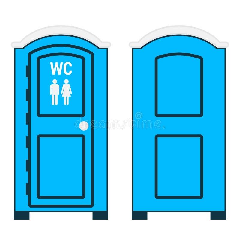 Передвижной туалет Голубая пластмасса вне уборной с знаком WC иллюстрация вектора