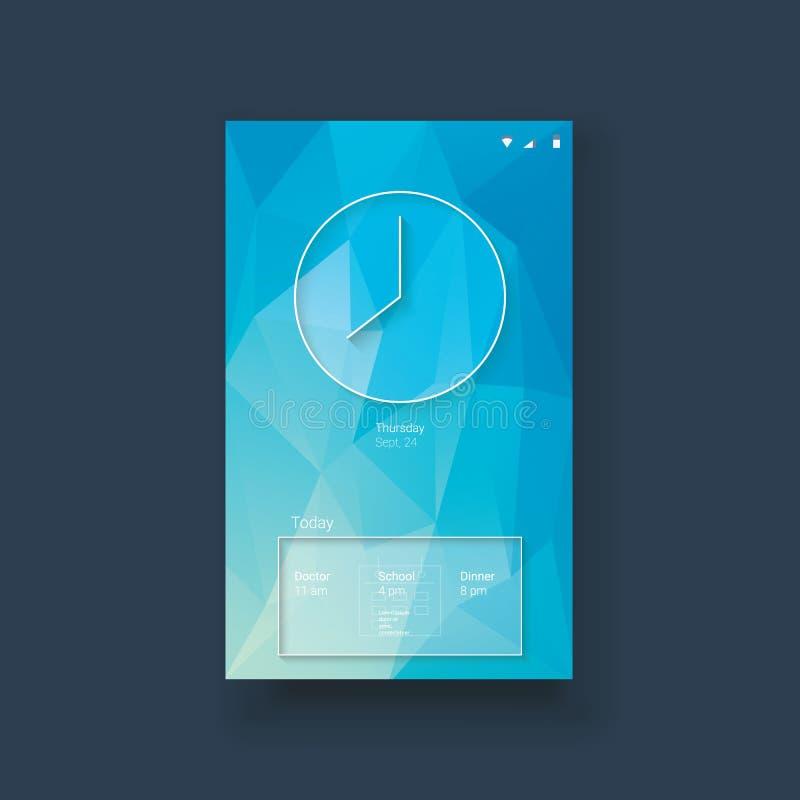 Передвижной шаблон ui в современном материальном дизайне с иллюстрация вектора