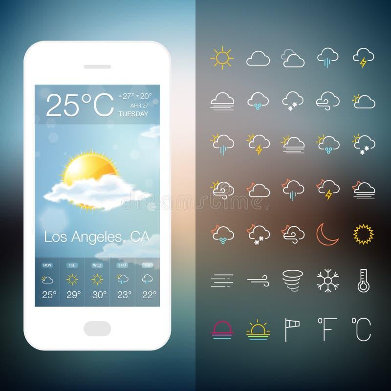 Передвижной экран применения погоды с комплектом значка бесплатная иллюстрация