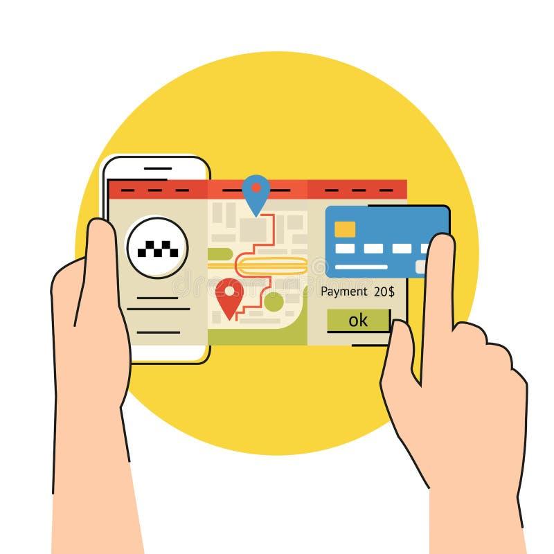 Передвижной app для записывая такси иллюстрация штока