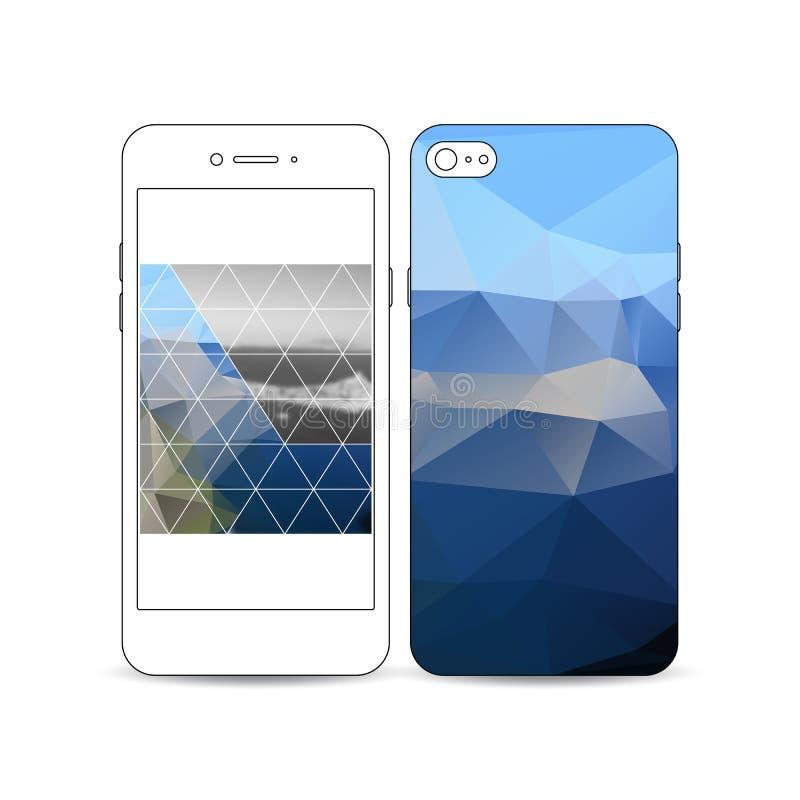 Передвижной smartphone с примером дизайна экрана и крышки изолированный на белой предпосылке Красочное полигональное бесплатная иллюстрация