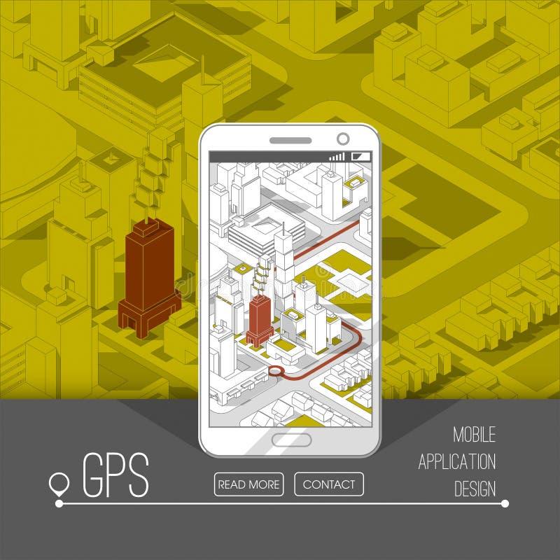 Передвижные gps и концепция отслеживать След app положения на smartphone сенсорного экрана, на равновеликой карте города бесплатная иллюстрация