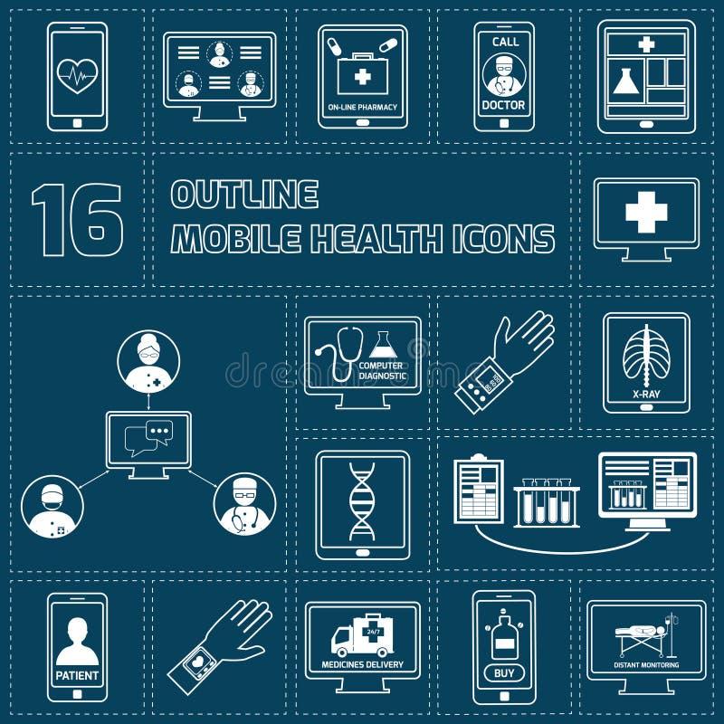 Передвижными план здоровья установленный значками иллюстрация вектора