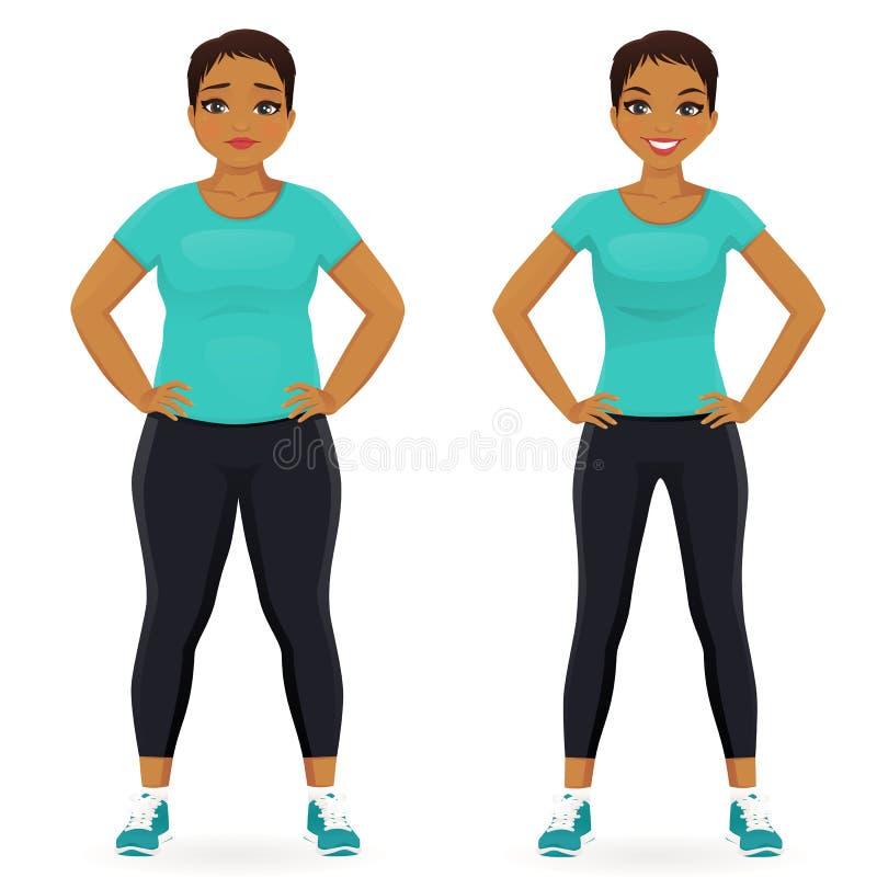 Перед и после женщиной диеты иллюстрация штока