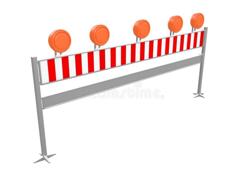 Перила или барьер движения для того чтобы остановить автомобили и detour они или сделать изолированное отступление на белом перев иллюстрация вектора