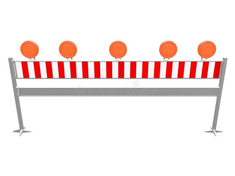 Перила или барьер движения для того чтобы остановить автомобили и detour они или сделать изолированное отступление на белом перев бесплатная иллюстрация
