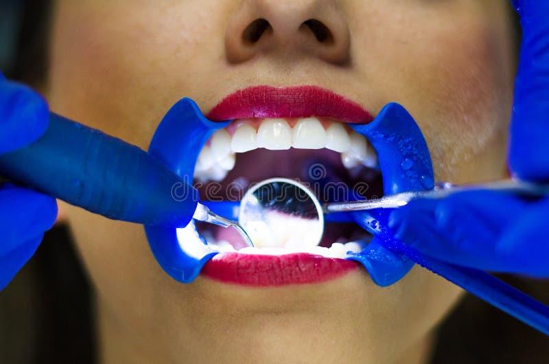 Периодическое всестороннее зубоврачебное рассмотрение иметь здоровые зубы стоковые фотографии rf