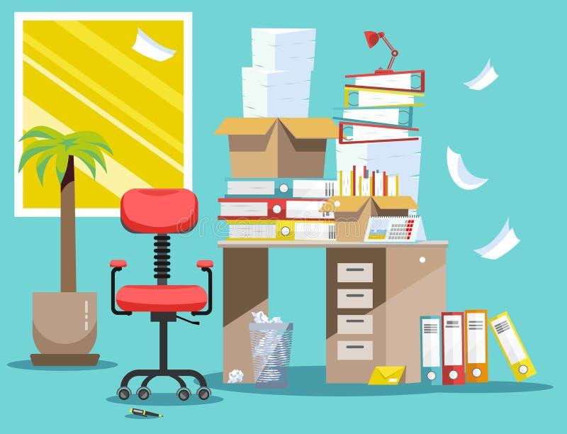 Период бухгалтеров и представления отчетах о финансиста Куча печатных документов и папок файла в картонных коробках на офисе иллюстрация вектора
