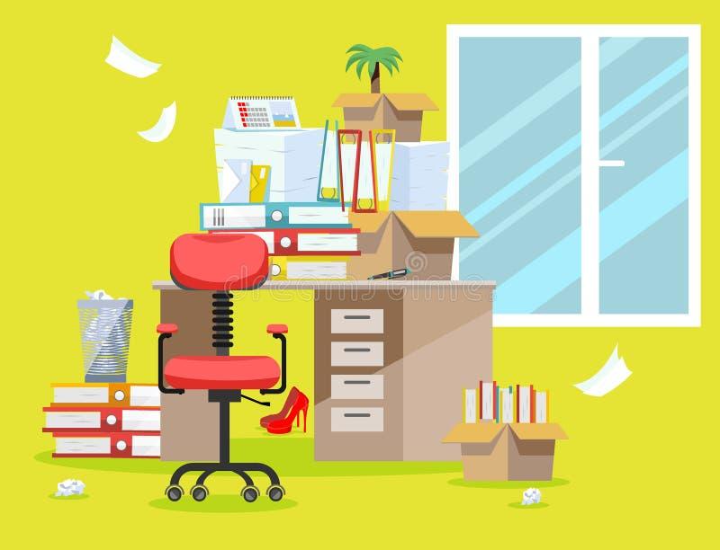 Период бухгалтеров и представления отчетах о финансиста Куча печатных документов и папок файла в картонных коробках на офисе иллюстрация штока