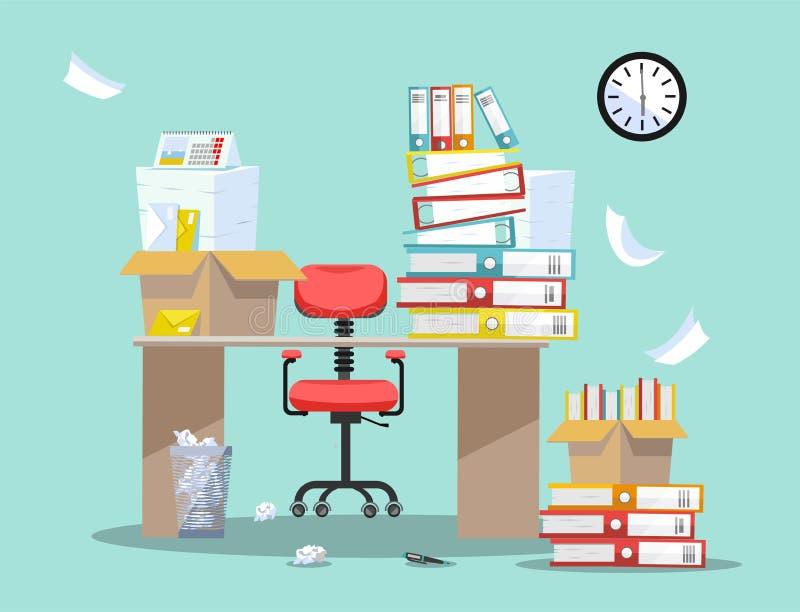 Период бухгалтеров и представления отчетах о финансиста Стул офиса за таблицей с кучами печатных документов и папок файла иллюстрация вектора