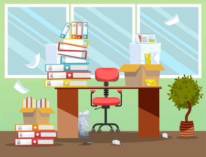 Период бухгалтеров, представление отчетах о финансиста Стул офиса за таблицей со стогом печатных документов и папок файла внутри иллюстрация вектора
