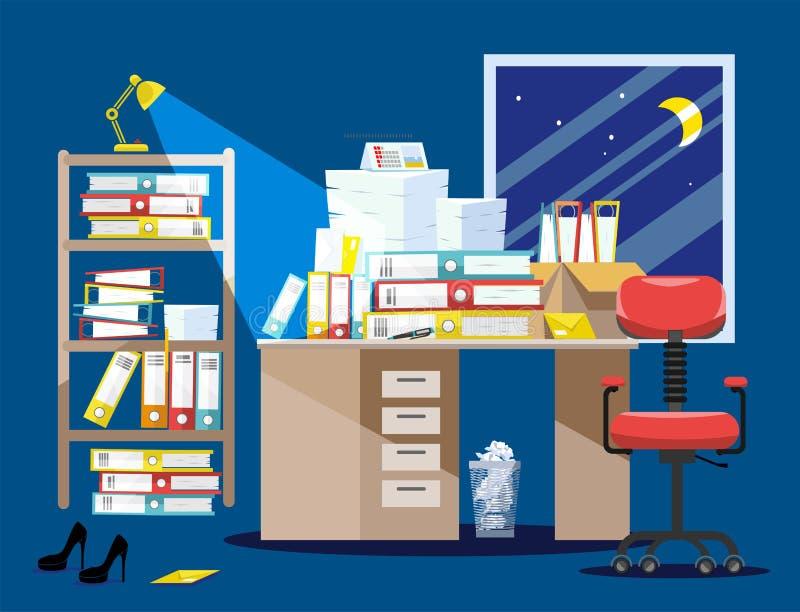 Период Nitht бухгалтеров и представления отчетах о финансиста Куча печатных документов и папок файла в картонных коробках дальше бесплатная иллюстрация