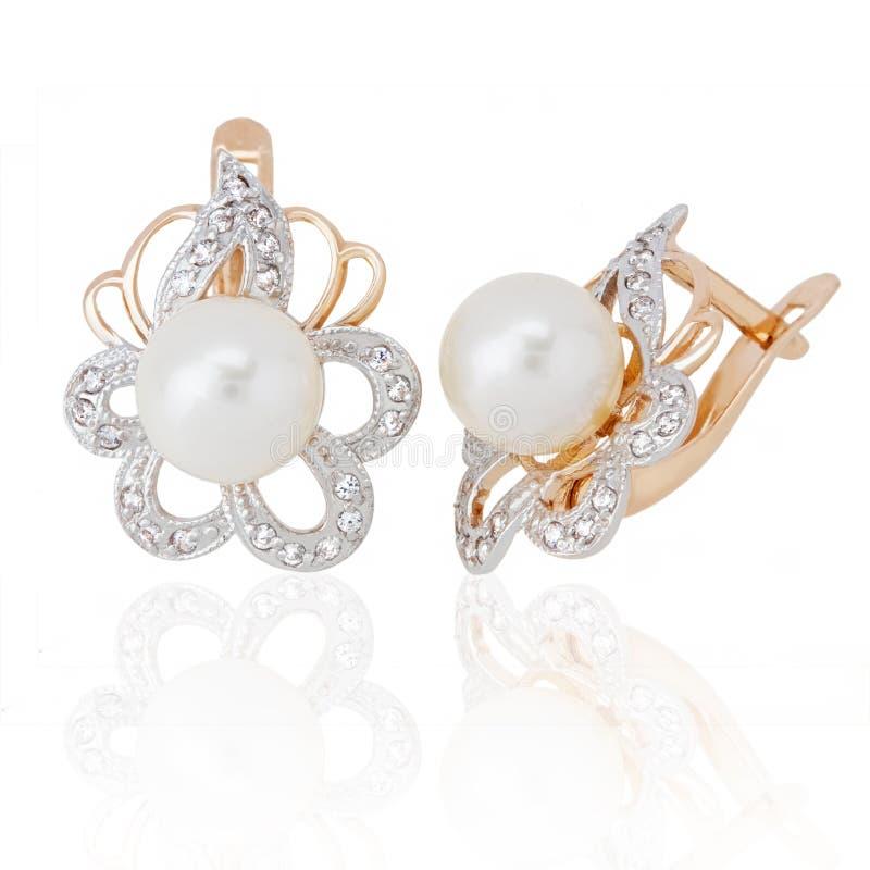 перла ювелирных изделий серег диамантов стоковая фотография rf
