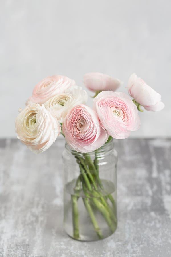 Персидский лютик в стеклянных вазах Пук бледный - розовый лютик цветет светлая предпосылка Обои, стоковое фото rf