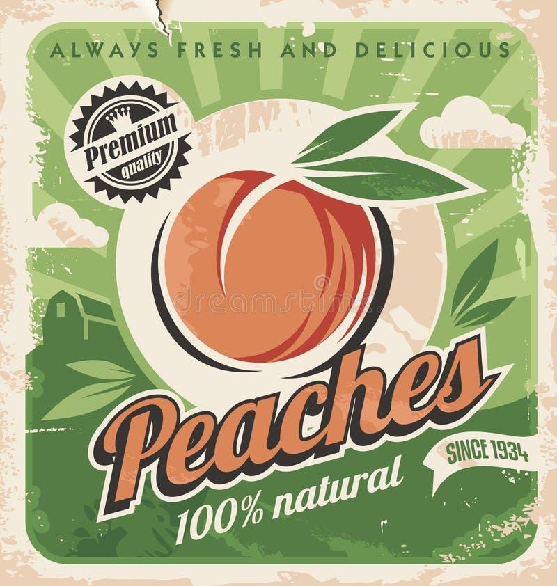Персики, винтажный шаблон плаката