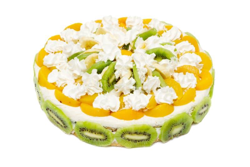 персики кивиа торта cream взбили стоковые изображения