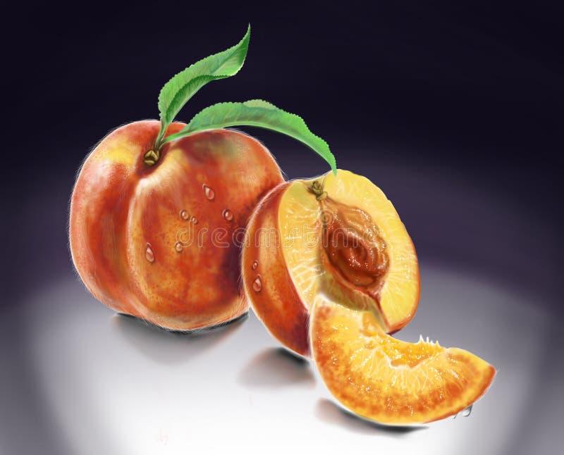 Персики на черно-белой предпосылке стоковое изображение rf