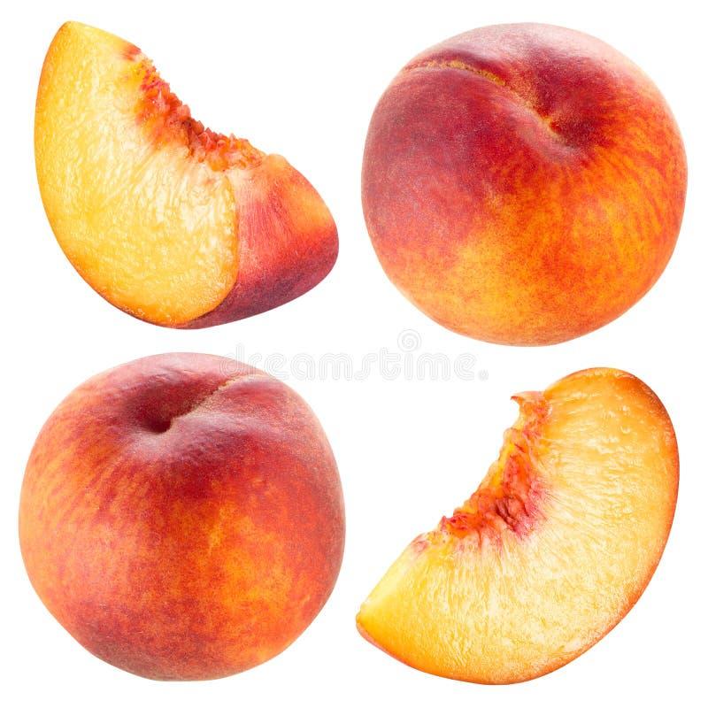 Персик и кусок. Собрание изолированное на белизне. стоковые изображения rf