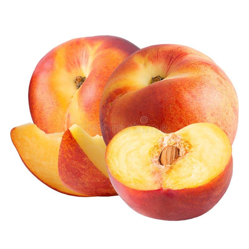 Персик 2 и slises изолированные на белой предпосылке стоковое фото rf