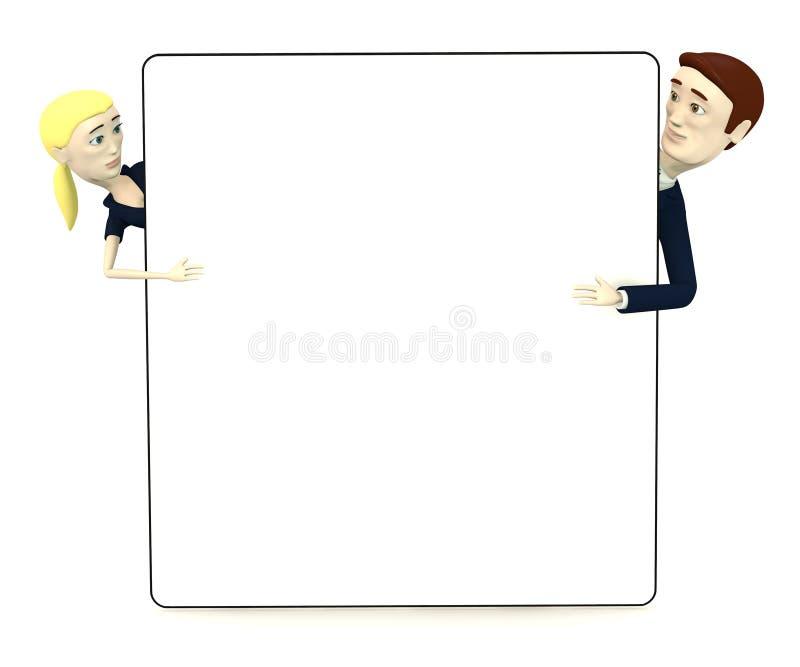 Персонажи из мультфильма в костюме с пустой доской иллюстрация вектора
