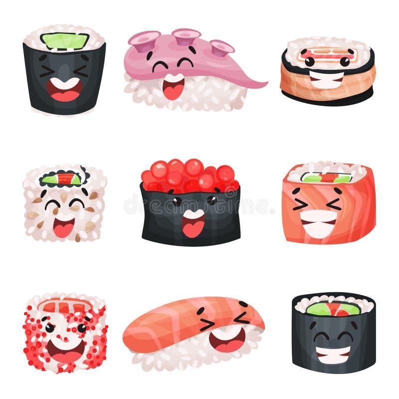 Персонажи из мультфильма суш установили, японская еда с смешными иллюстрациями вектора сторон бесплатная иллюстрация