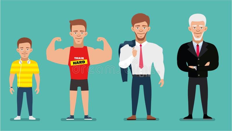 Персонажи из мультфильма показывая прогресс времени Поколения людей европейский человек плоско бесплатная иллюстрация