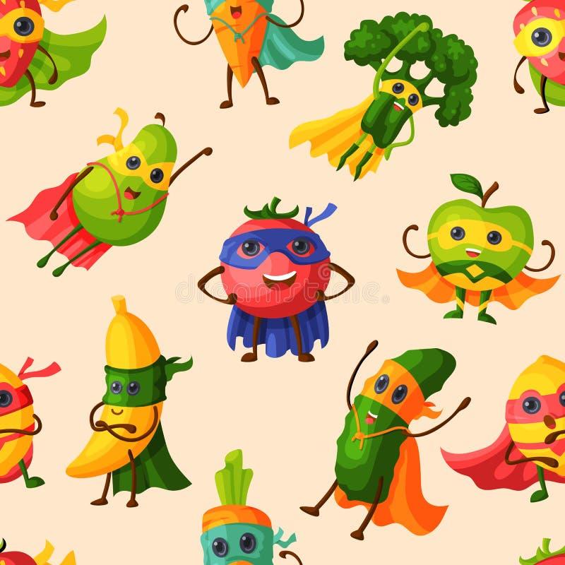 Персонаж из мультфильма вектора плодов супергероя fruity овощей выражения супергероя со смешным бананом или перцем яблока иллюстрация штока