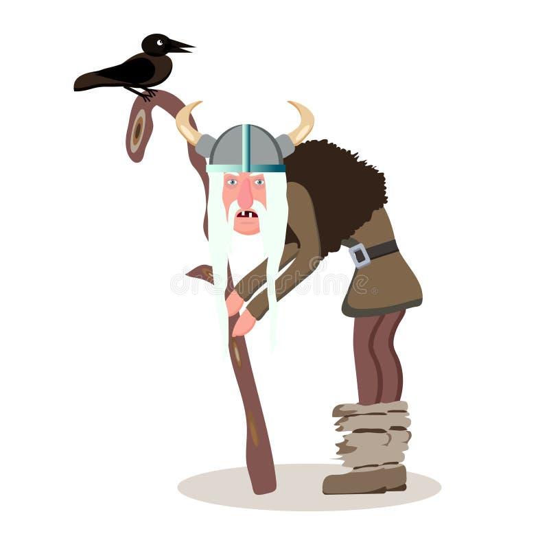 Персонаж из мультфильма Викинга Старая серая с волосами склонность человека на его иллюстрация штока