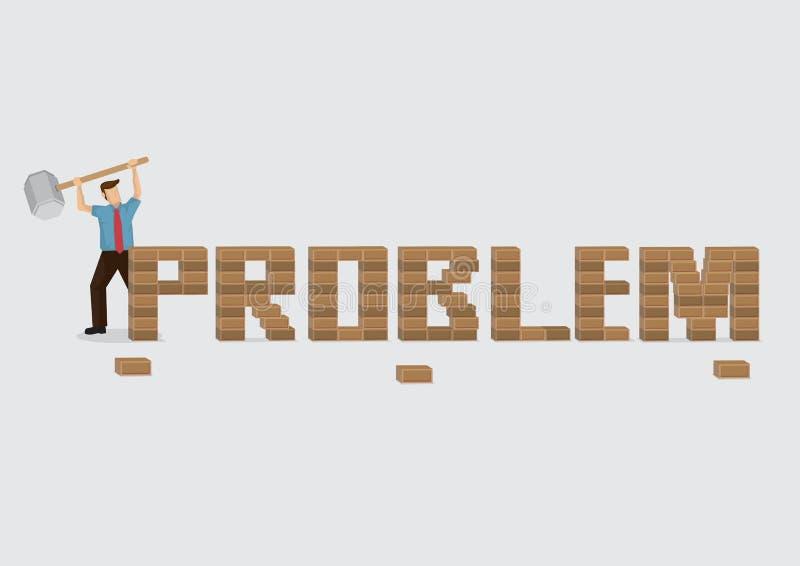 Персонаж из мультфильма держа огромный мушкел для того чтобы сломать кирпич Wal проблемы бесплатная иллюстрация
