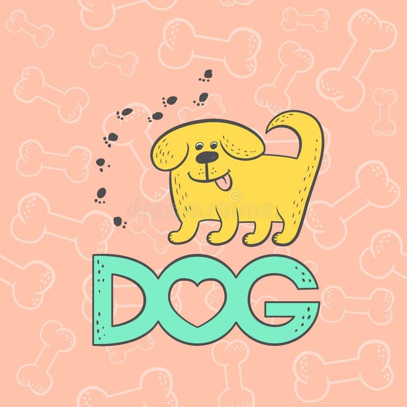 Персонаж из мультфильма животного карикатуры милой собаки вектора смешной Оконтурите плоским эскиз карточки ярким изолированный л иллюстрация штока