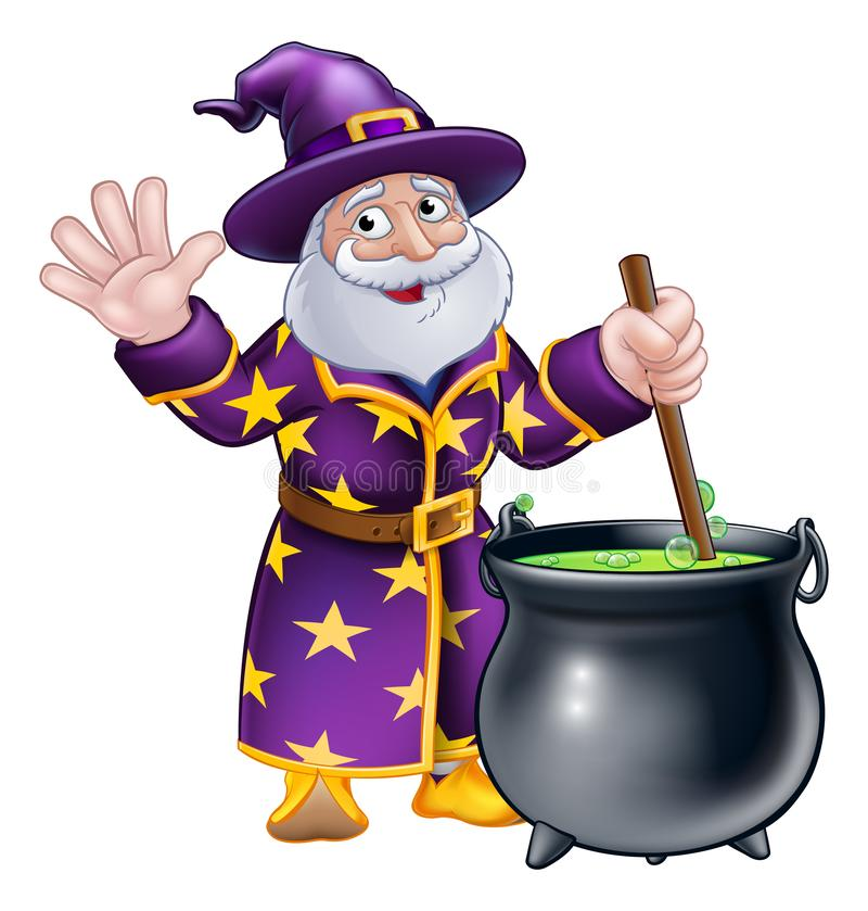 Персонаж из мультфильма и котел волшебника бесплатная иллюстрация