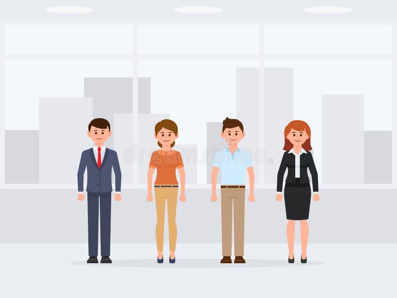 Персонаж из мультфильма людей офиса стоящий Вид спереди счастливых коллег иллюстрация вектора