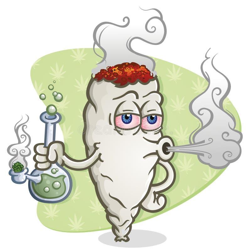 Персонаж из мультфильма марихуаны совместный куря кальян иллюстрация штока